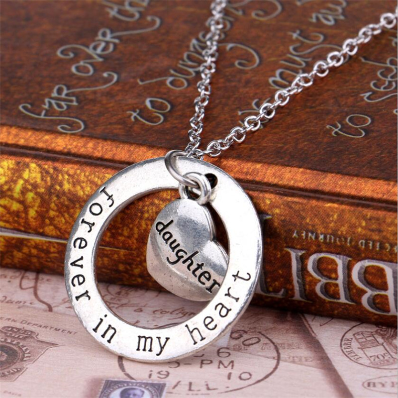 Birthday Gift Family Love Daughter Necklaces For Mom Child Fashion Kids Forever In My Heart Necklace Alloy