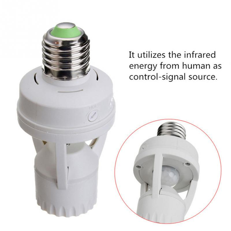 1Pcs AC110V 220V PIR Infrared Motion Sensor E27 Led Light Lamp Base Holder Bulb Socket 360 Degrees Detection Day & Night 2 Modes стоимость
