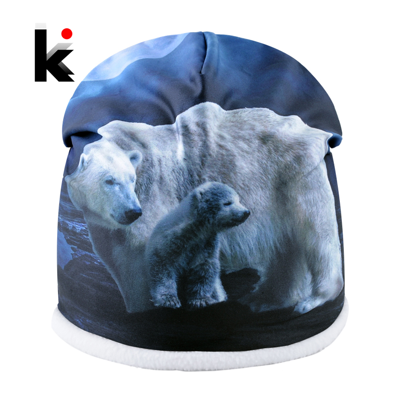 Winter   Beanie   Hats For Women Men Plus Velvet Warm   Skullies     Beanies   Fashion Polar Bear 3D Printing Hat Unisex Bone Caps Male
