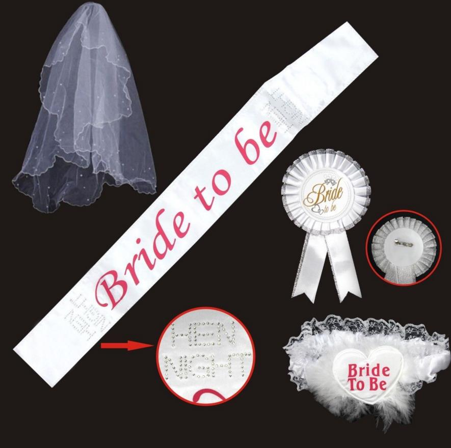 ⊱bride To Be ᗜ Ljഃ Set Set Rosette Mantilla Badge Sash