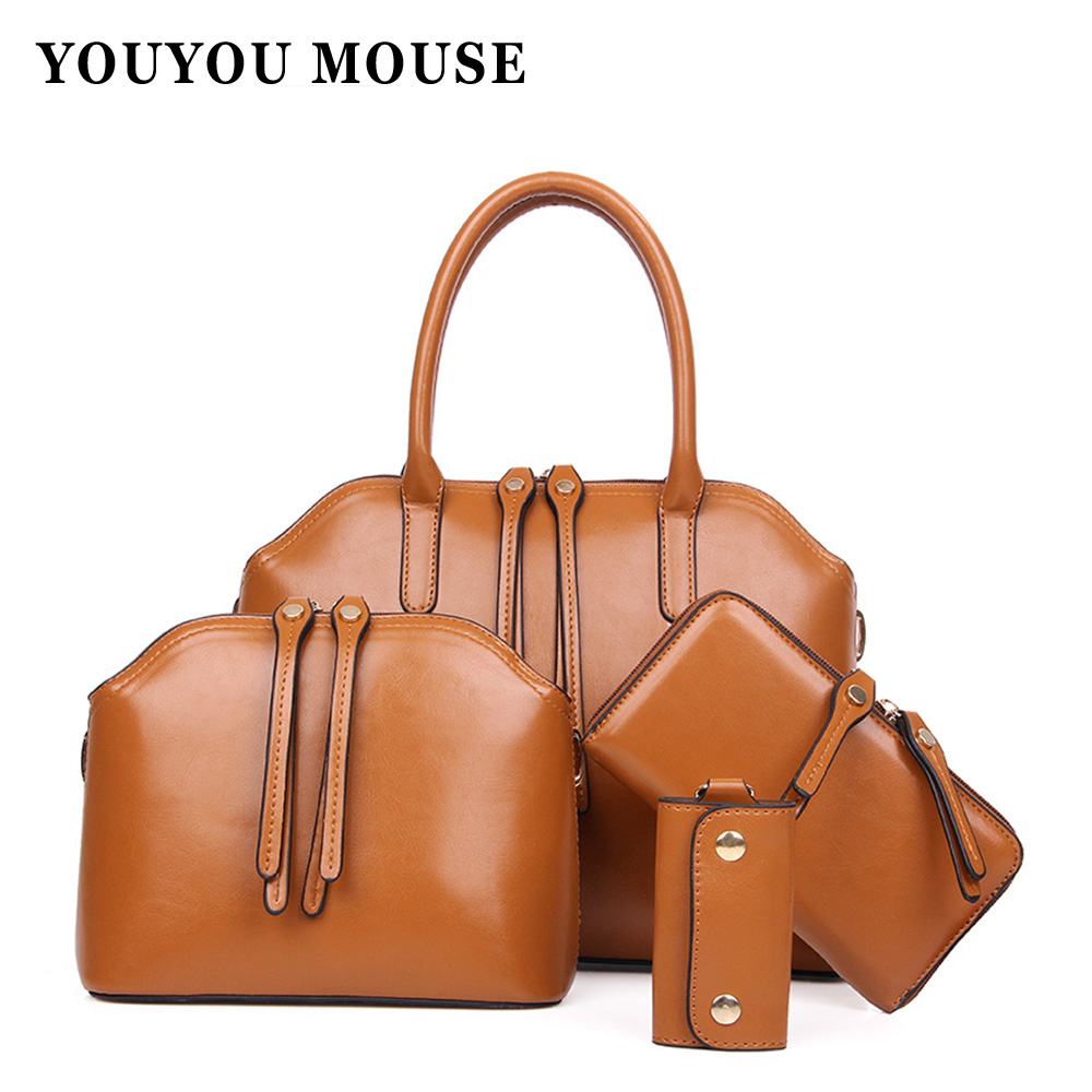 New Fashion Women Oil Wax Leather font b Handbags b font 4 font b Sets b