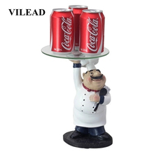VILEAD 27.8cm Resin Hand Lifting Tray Chef Figurines Creative Living Room Decrations Fruit Storage Restaurant Ornaments For Home