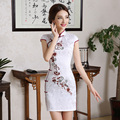 2016 spring retro chinese traditional dress sexy satin qipao cheongsam floral evening dresses wedding party embroidery