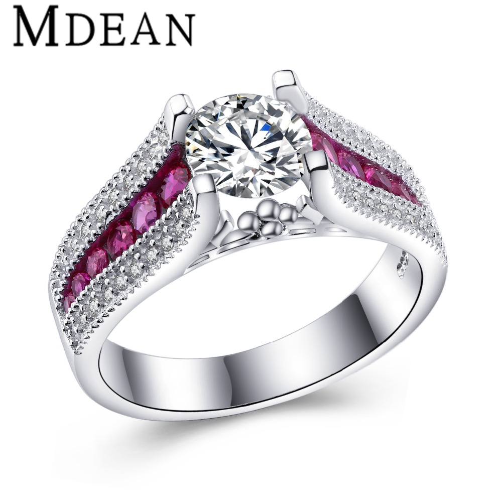 mdean pink stone white gold plated wedding rings for women aaa zircon engagement vintage ring. Black Bedroom Furniture Sets. Home Design Ideas