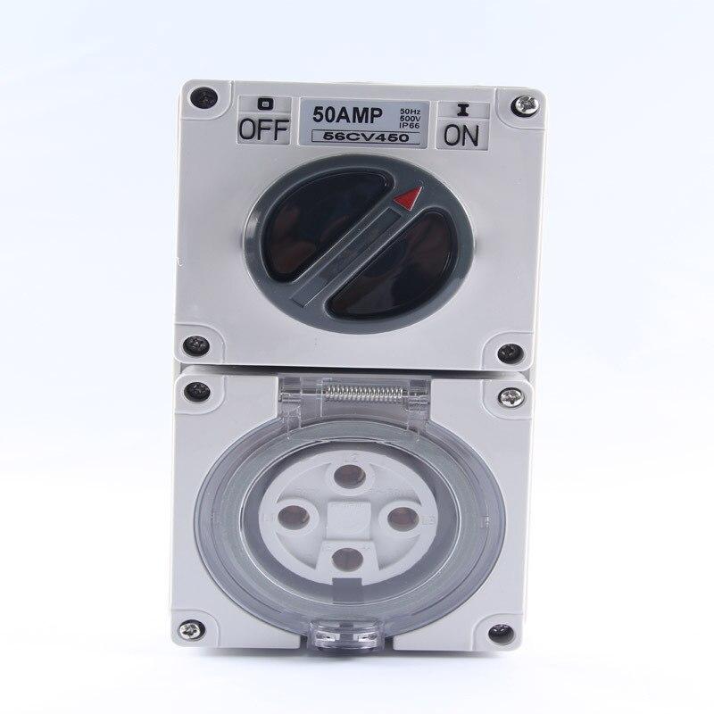 High Quality SP-56CV450 ip66 Combination Weatherproof Switched Socket 4P 50AHigh Quality SP-56CV450 ip66 Combination Weatherproof Switched Socket 4P 50A