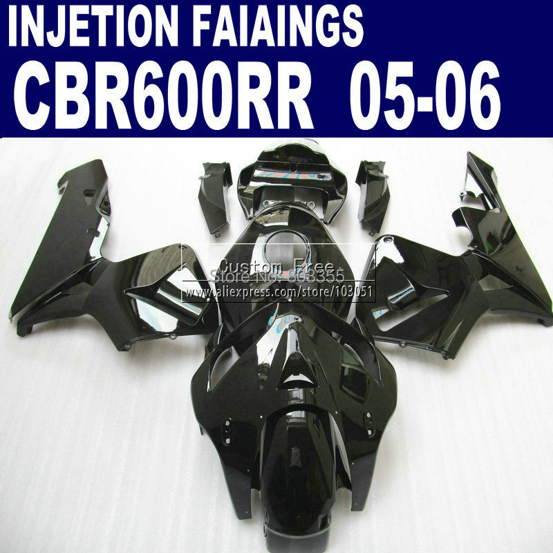 Injection fairings parts for Honda glossy black CBR600RR fairing kit CBR 600RR 2005 2006 CBR 600 RR 05 06 motorcycle body 100% fit motorcycle fairings for honda cbr 600rr 09 10 11 cbr 600 rr rothmans blue fairing kits 2009 2010 2011 cbr600rr 7gifts