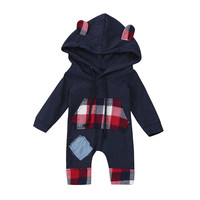 Wholesale Cute Newborn Kid Baby Bear Grid Hoodie Boys Girls Outfits Clothes Jumpsuit Suit For 0