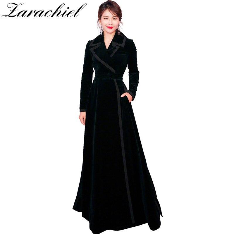 New 2018 Winter Runway Designer Women Vintage Notched Collar Wrap Black Velvet Maxi Coat Thick Warm