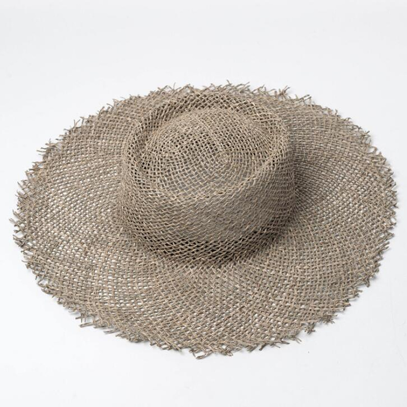 2019 New Women Natural Sun Hat Breathable Straw Hats Summer Wide Brim Beach Hat Fashion Jazz Straw Hat H4