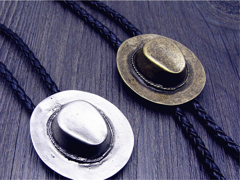Bolo Tie  Retro Shirt Chain A Cowboy Hat, Poirot  Rope Leather Necklace Long Tie Hang
