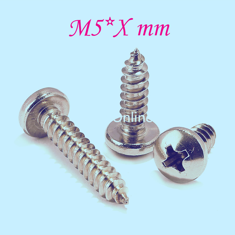 YT807  304 Stainless Steel Phillios Self-tapping Screws  Cross Recessed Pan Head Tapping Screw  M5 * Xmm   Free Shipping yt807 304 stainless steel phillios self tapping screws cross recessed pan head tapping screw m5 xmm free shipping