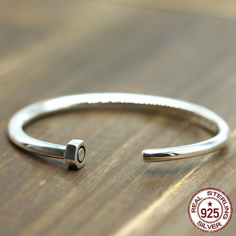 100% S925 homme femme bracelet rétro personnalité simple bijoux rivet ouverture une vie bracelet pour envoyer un cadeau d'amour 2018 chaud