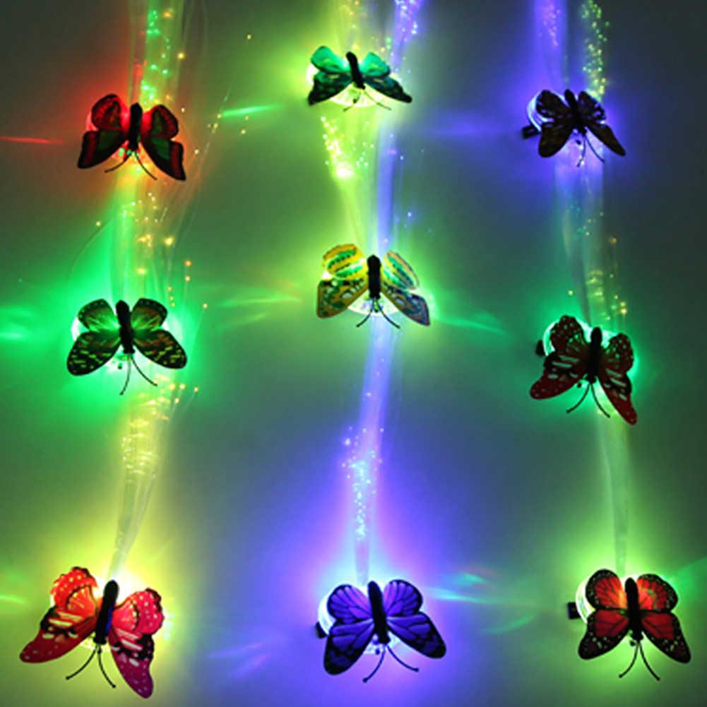 Мерцание мигание заколка для волос шнурок со светодиодной вспышкой шоу вечерние украшения Головные уборы красочные светящиеся оплетки оптического волокна проволочная шпилька