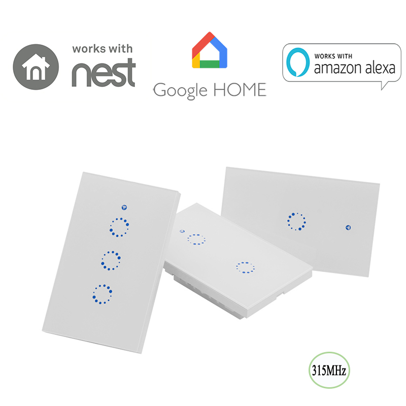 Sonoff T1 US: 1-3 Gang US AU Standard WiFi 315MHz RF Smart Wall Touch Light Switch Timing Remote ON/OFF App Support Smart Home sonoff t1 us smart wifi wall touch light switch 1 2 3 gang touch wifi rf app remote smart home controller work with google home