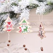 1 Pieces Christmas Decorations Wood Christmas Tree Decoration Bell Santa Claus Ornaments Hanging Pendant Gifts Dropshipping