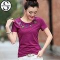 Purple Embroidery T Shirt Women Clothes 2017 Short Sleeve T-Shirt Female Summer Tops Korean Tshirts Cotton Tees Shirts Femme 3XL