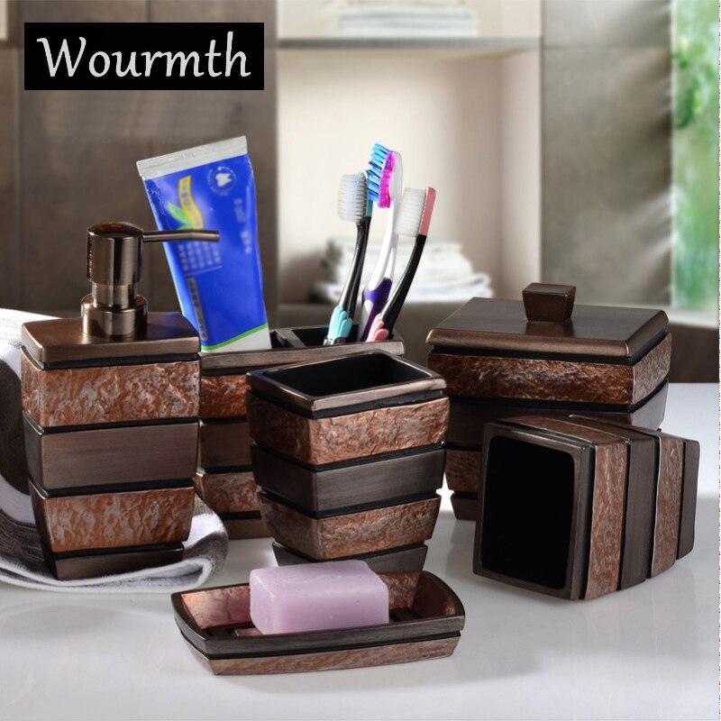 Wourmth Европейский смолы Аксессуары для ванной комнаты Комплект Ванная комната сантехники, Ванна набор зубных щеток чашки мыльница подарки 6