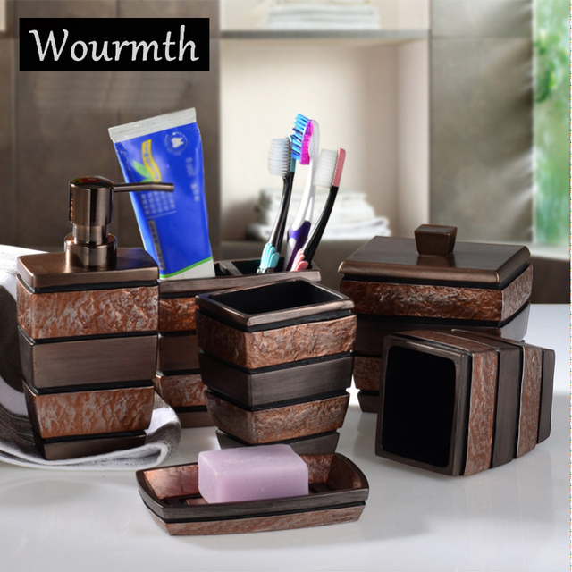 Wourmth European Resin Bathroom Accessories Set Bathroom Sanitary Ware Bath  Set Toothbrushes Cup Holder Soap Dish