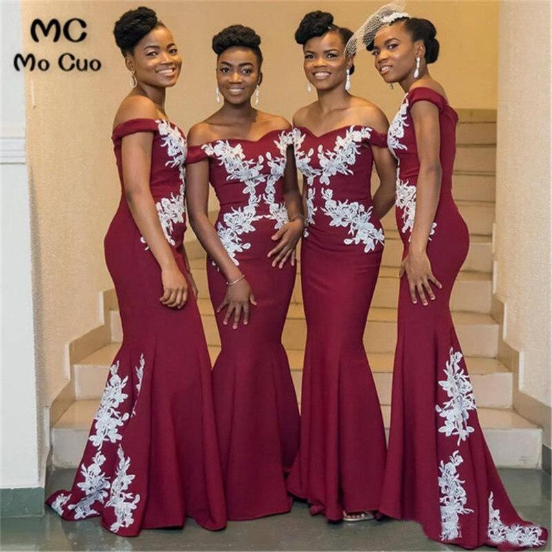 2019 Burgundy Mermaid   Bridesmaid     Dresses   Wedding Party   Dress   Elastic Satin   Bridesmaid     Dress   Custom Made