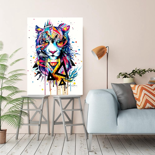 Colorful Tiger Watercolor Wall Art Paintings For Restaurant Room