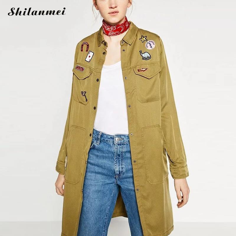 2017 Spring Women Basic Coat Long Sleeve Army Green Women Jacket animal prints wear women fashion coat jaqueta feminina