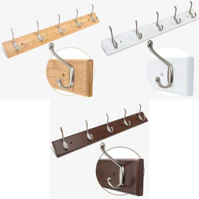 Bamboo base with 5pcs metal hooks coat hanger, wall mount holder,