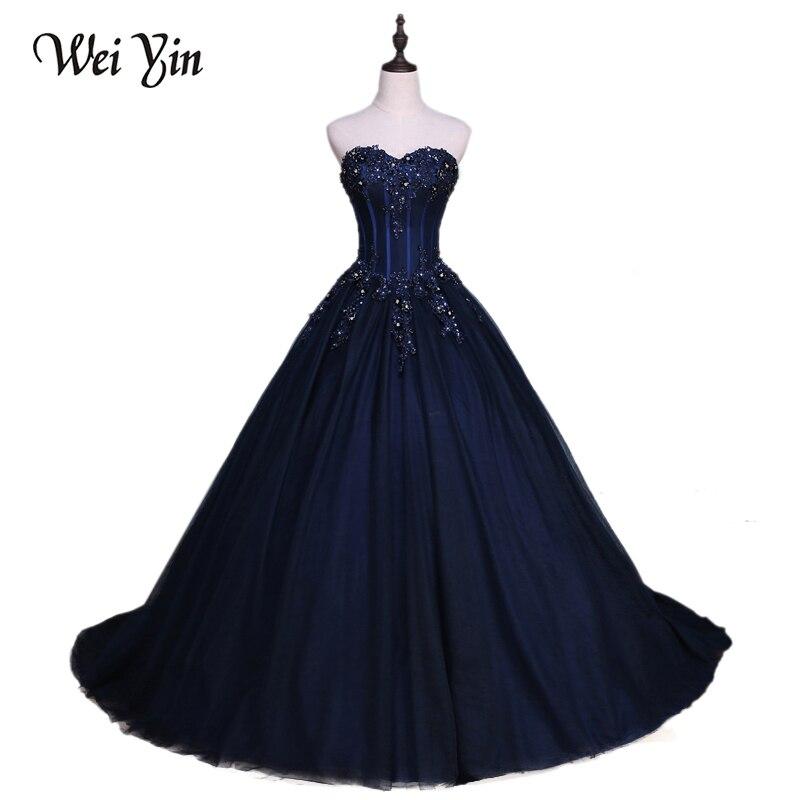 WeiYin une ligne élégante chérie robes De soirée longue Robe De mariée bleu marine fête robes De bal Robe De soirée formelle Robe De soirée
