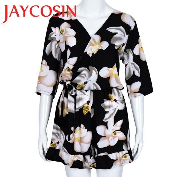 SIF Hot!Jumpsuits 2017 Women Plus Size Floral Chiffon Playsuit Clubwear Bodycon Party Jumpsuit Romper Wonderful Drop Shipping727