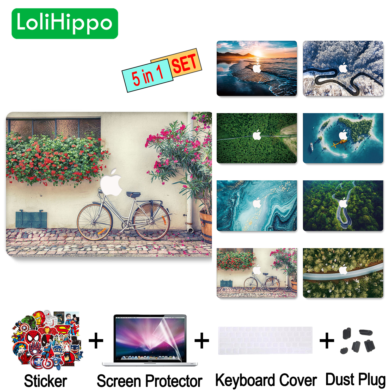 LoliHippo High Angle Shot Series Laptop Protective Case for Macbook Air Pro 11 12 13 15 Inch Hollow Out Logo Notebook Cover