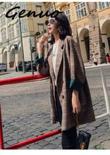 Vintage Plaid Wool Coat Women Spring 2019 Fashion Hot Sale Thicken Warm Soft Loose Outerwear Korean High Street Casual Overcoat