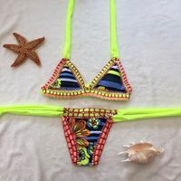 M M Sexy Handmade Crochet Bikini Women Swimsuit 2017 Crochet Swimwear Female Brazilian Bikini Set Beach
