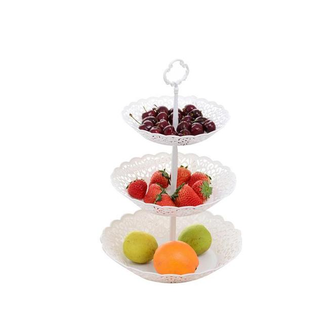 Three Tier White Fruit Plate And Dessert Stand Snacks Basket For Wedding Home Party Serving Platter