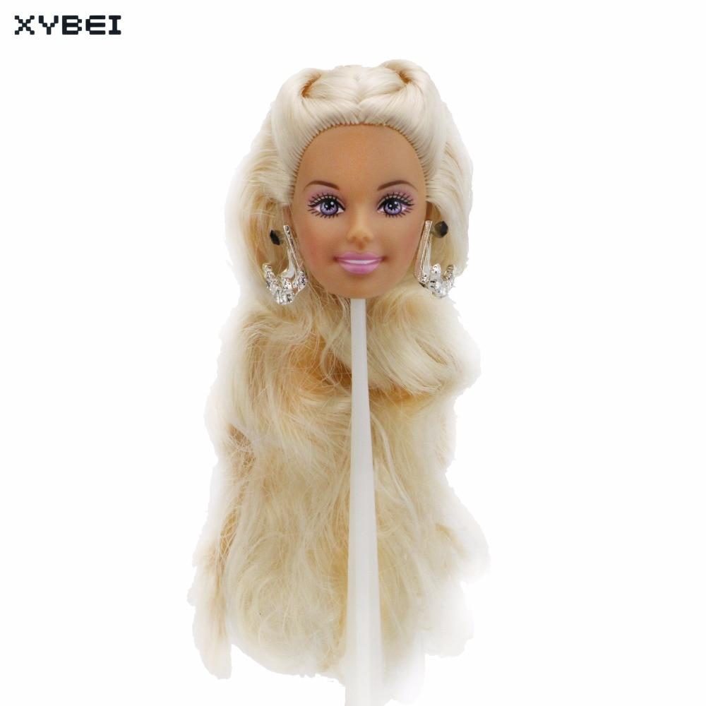High Quality Doll Head Purple Eye Shadow Eyeball Blond Curly Hair With Random Earrings Accessories For 12