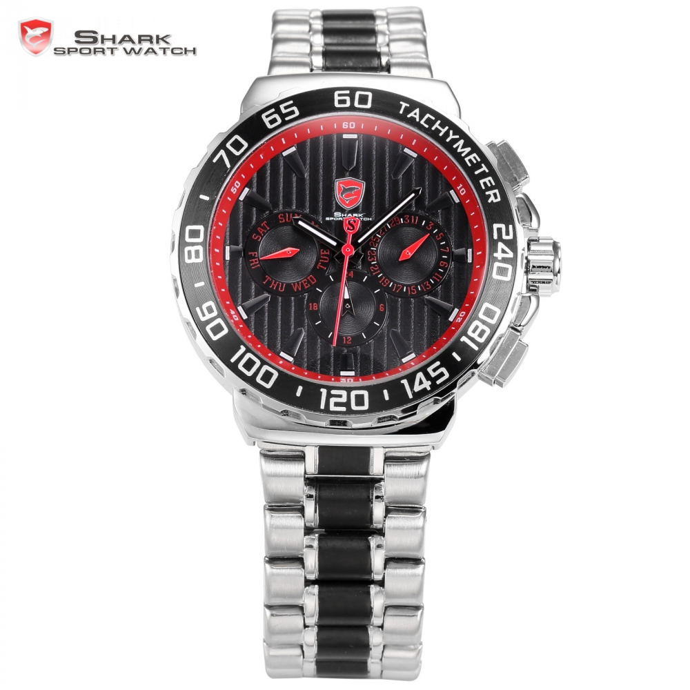 Blacknose Shark Sport Watch Red Silver Stainless Steel Band Auto Date Day Hidden Button Waterproof Men's Quartz Watches / SH382 snaggletooth shark sport watch lcd auto