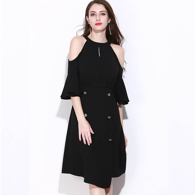 Black Summer Dress New Button Cute Plus Size Dress Cold Shoulder