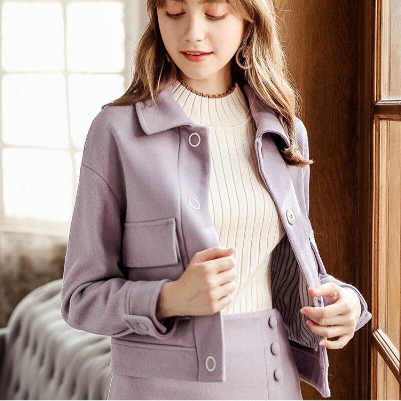 De Otoño Suelto Abrigo Invierno Mujer Más Púrpura Grande Solapa Ancho Lana Estilo Coreano Caliente Para g4qnSP