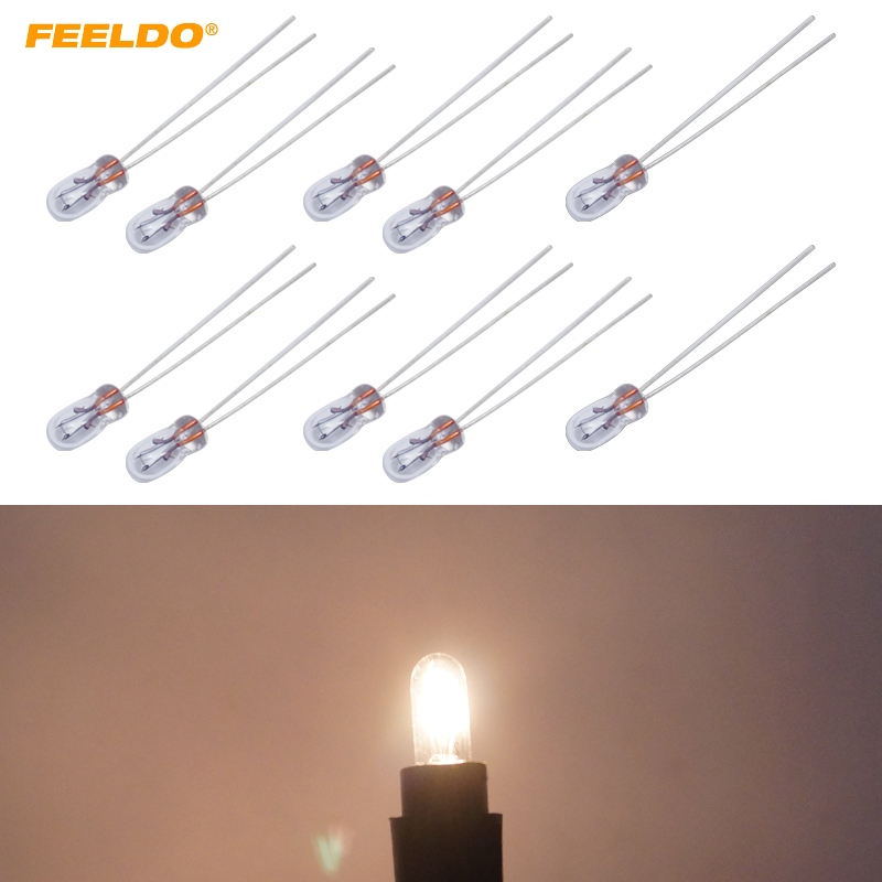 FEELDO 100Pcs Car T3 12V 30MA Halogen Bulb External Halogen Lamp Replacement Dashboard Bulb Light Warm White #FD2687