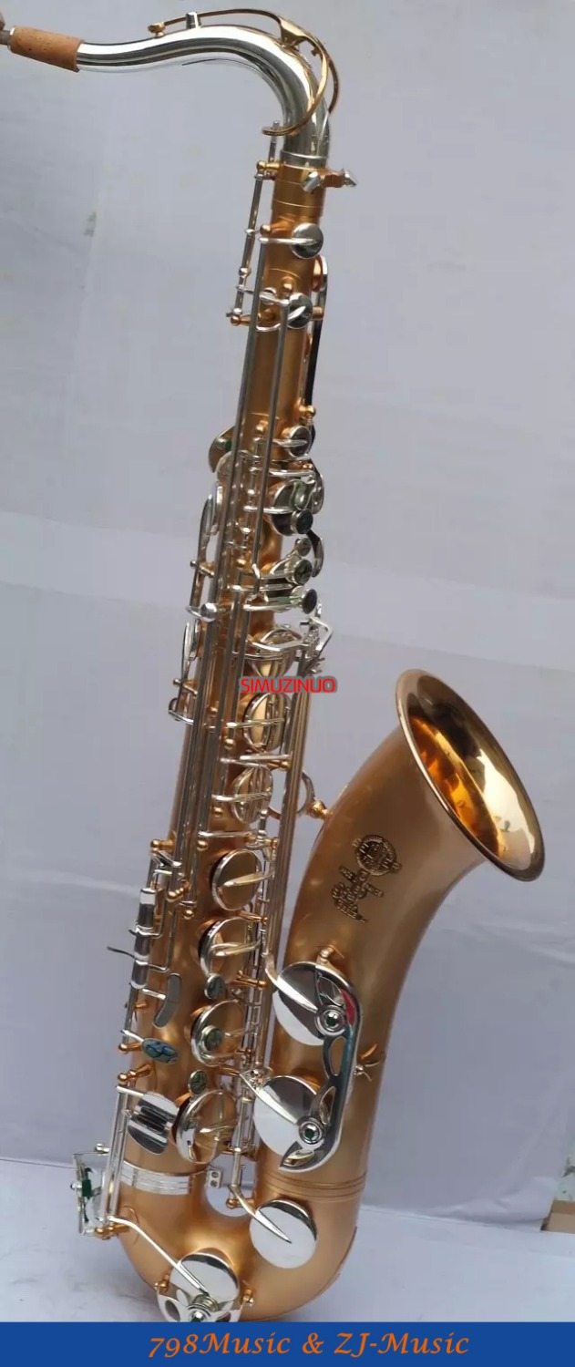 Professional Stain Gold Body-Gold Plated bell and silver plated Keys-Tenor Saxophone sax High F# Saxofon New Case professional double french horn gold f bb keys cupronicekl tuning pipe with case
