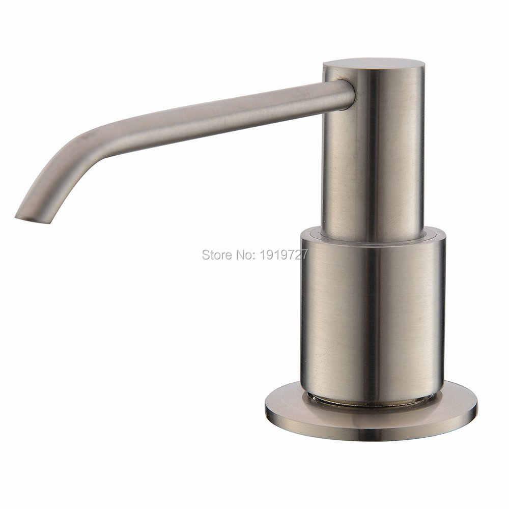 Nowy nikiel Metal zlewozmywak ze stali nierdzewnej butelka mydło w płynie dozownik zbudowany w dozownik do mydła pompy