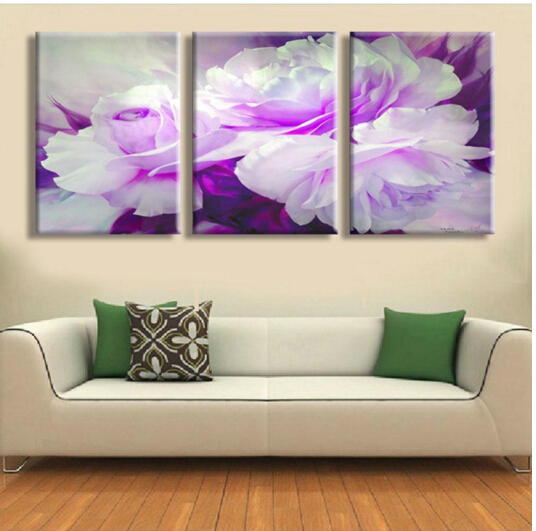 Aliexpress Com Buy Free Shipping 3 Piece Wall Decor: Free Shipping 3 Piece Wall Art White Purple Lover Flower