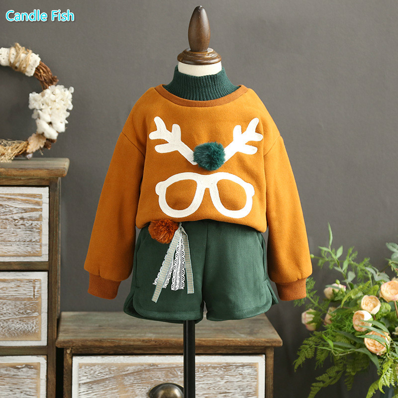 Children's suit 2017 autumn and winter new sweater girls cotton plus cashmere head coat with Western style shorts two-piece
