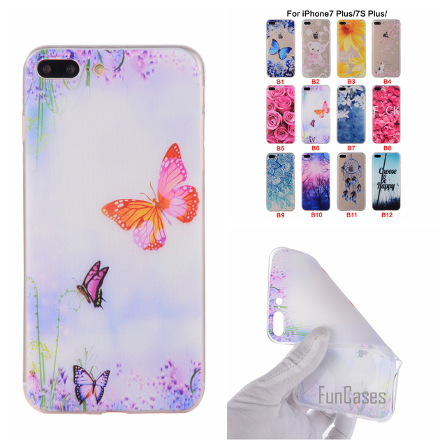 Cartoon Flower Butterfly Bear Tree Painted Back Cover Silicon Gel Soft TPU Mobile Phone Case For iPhone 7 Plus coque 7Plus funda