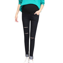 Для беременных Для женщин джинсы эластичный пояс рваные джинсовые кормящих поддежка живота для беременных повседневные штаны, брюки @ ZJF