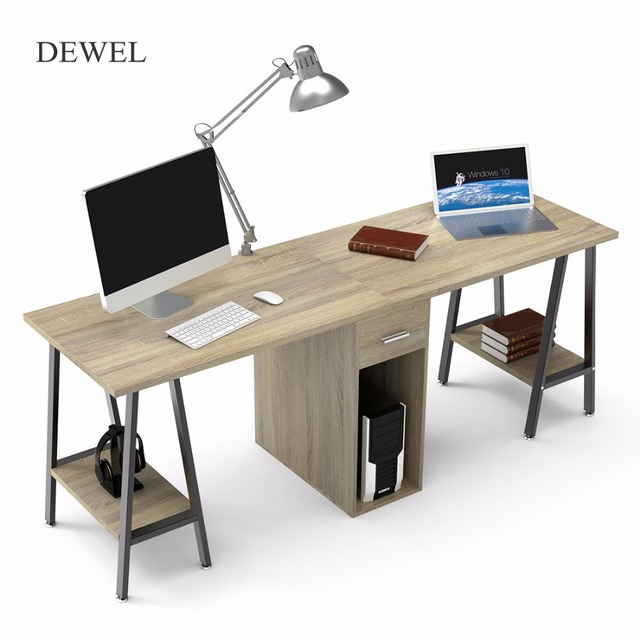 Two Person Computer Desk With Drawers 78u0027u0027 Large Long Computer Table Double Workstation  Desks With Storage For Home Office