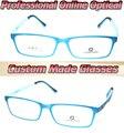 Голубой тенденция рамка оптическая на заказ оптические линзы очки для чтения + 1 + 1.5 + 2 + 2.5 + 3 + 3.5 + 4 + 4.5 + 5 + 5.5 + 6 + 7