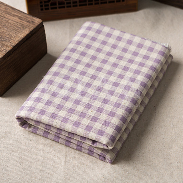 Quality Purple Plaid Country Linen/Cotton Fabric DIY Fabric Handcraft  Curtain For Sofa Tablecloth Pillow