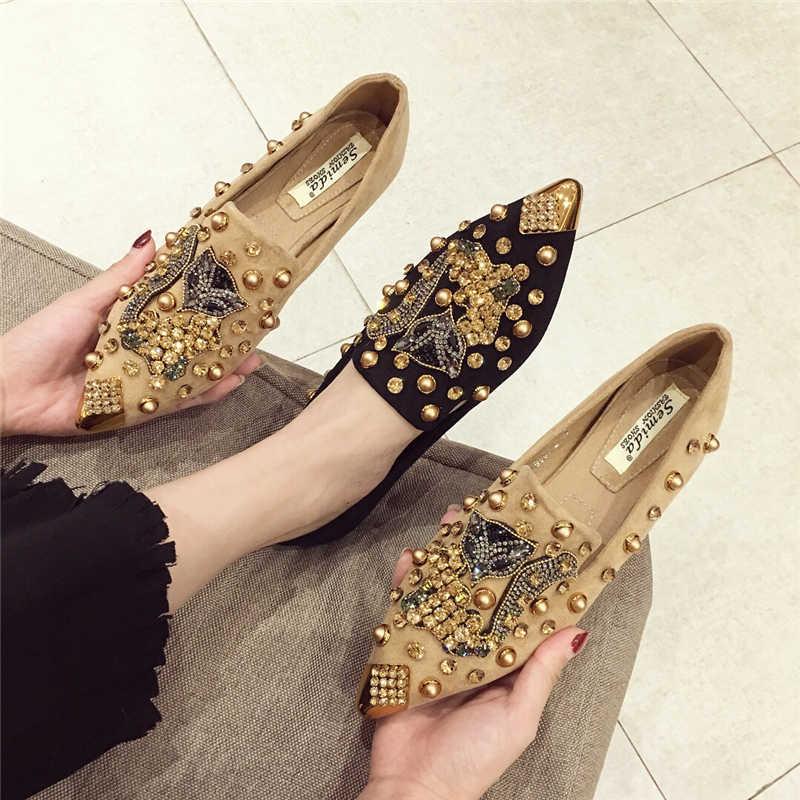 SWYIVY แบนรองเท้าผู้หญิง 2019 ฤดูใบไม้ผลิรองเท้าผ้าใบรองเท้าผู้หญิงรองเท้าแบน Rhinestone Rivet ผู้หญิง