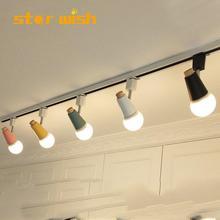 Современный светодиодный Трековый светильник с цветными соединителями, Регулируемое направление, рельсовый Точечный светильник, s светильник 110 В 220 В