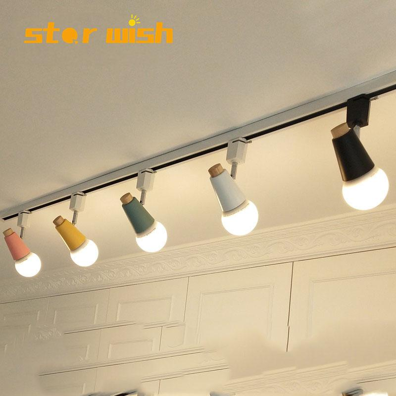 Modern Led Track Light Colourful Connector Direction Adjusted Rail Spotlights Track Lighting Fixture 110v 220v