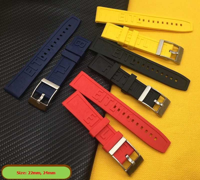 Brand Natural Rubber Watch band 22mm 24mm Black Blue Red Yellow Watchband Bracelet For Breitling strap Navitimer Avenger logo on